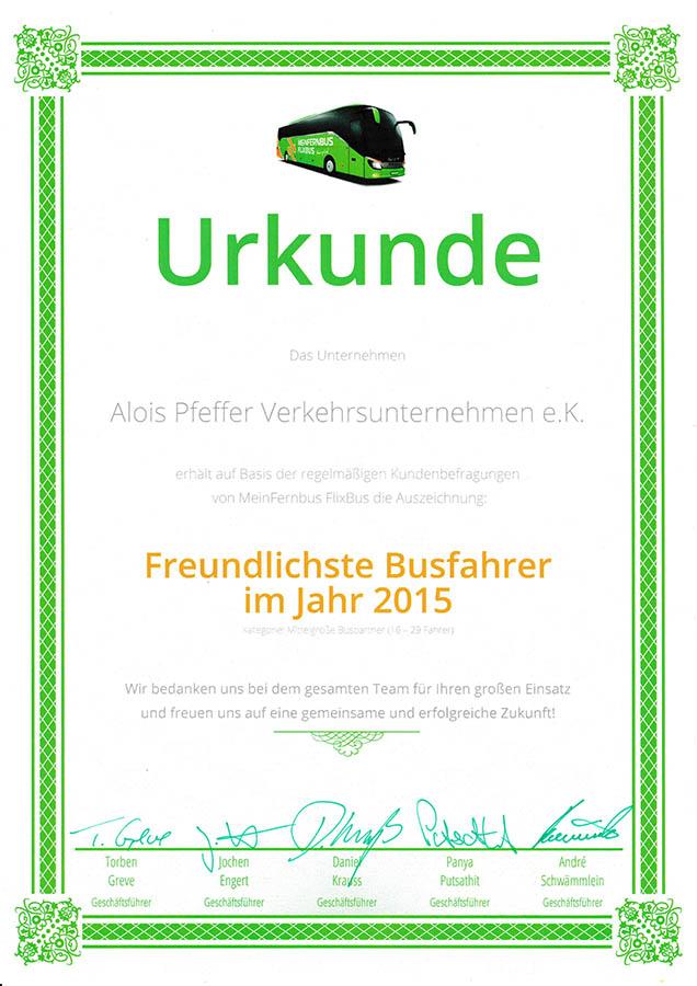 Pfeffer-Reisen - Freundlichste Busfahrer 2015 bei Flixbus
